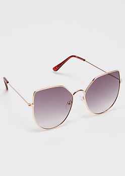 Gold Square Cat Eye Sunglasses