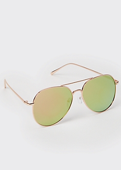 Lime Mirrored Metal Frame Aviator Sunglasses