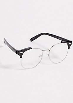 Black Partial Browline Clear Readers