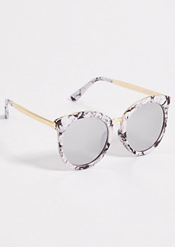 Marble Print Rounded Cat Eye Sunglasses