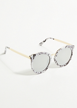 White Marble Mirror Lens Round Sunglasses