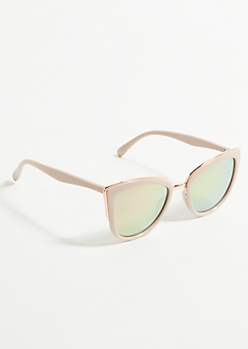 Pink Mirrored Rose Gold Cat Eye Sunglasses
