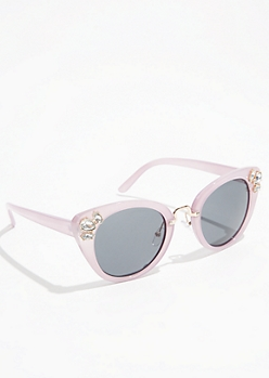 Purple Gemstone Cat Eye Sunglasses