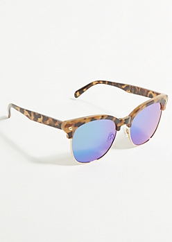 Brown Tortoiseshell Blue Lens Sunglasses