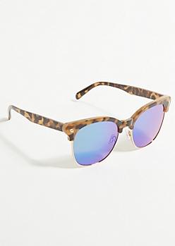 Brown Tortoiseshell Blue Lens Sunglasses