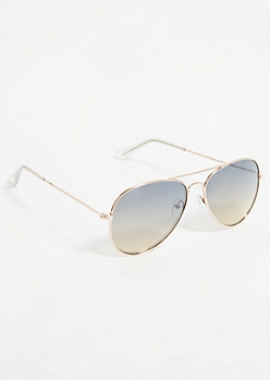 Silver Metal Frame Ombre Blue Aviator Sunglasses