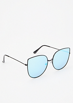 Blue Mirrored Cat Eye Sunglasses