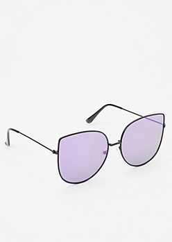 Purple Mirrored Cat Eye Sunglasses