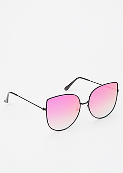 Fuchsia Mirrored Cat Eye Sunglasses