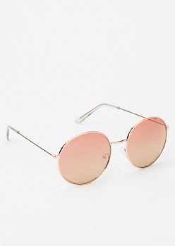 Rose Gold Round Mirrored Sunglasses
