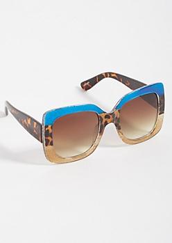 Blue Leopard Print Glitter Square Sunglasses