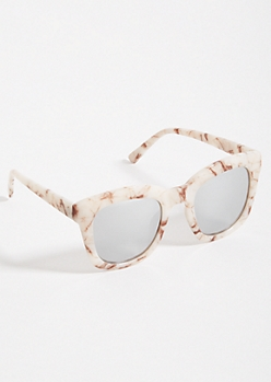 White Marble Print Mirrored Lens Sunglasses