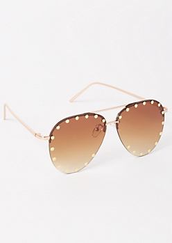 Gold Stud Aviator Sunglasses