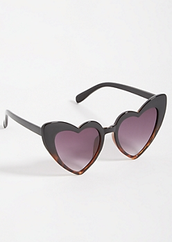 Black Tortoiseshell Heart Cat Eye Sunglasses