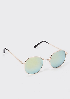 Rose Gold Mirrored Round Sunglasses