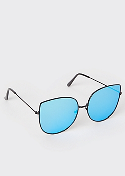Turquoise Mirror Cat Eye Sunglasses