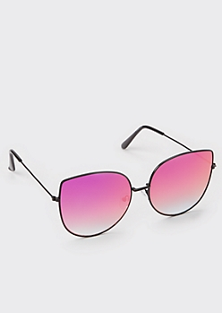 Black Cat Eye Wire Frame Sunglasses