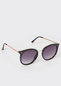 Black Rounded Cat Eye Sunglasses