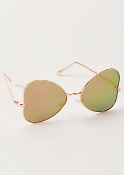 Pink Side Heart Mirrored Sunglasses
