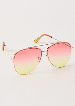 Gold Sunset Gradient Aviator Sunglasses