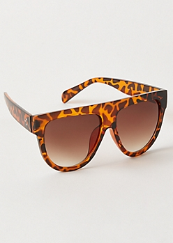 Animal Print Flat Top Sunglasses