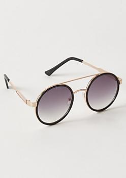 Black Rim Round Brow Bar Sunglasses
