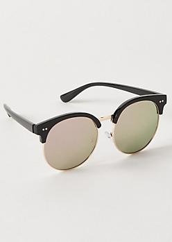 Black Mirrored Browline Sunglasses