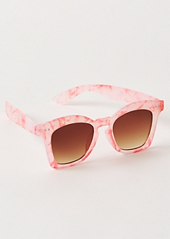 Pink Marbled Square Sunglasses