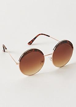 Tortoiseshell Circle Browline Sunglasses