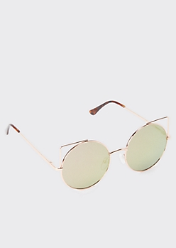 Gray Round Cat Eye Sunglasses