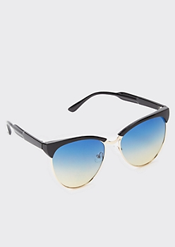 Round Mirrored Lens Sunglasses