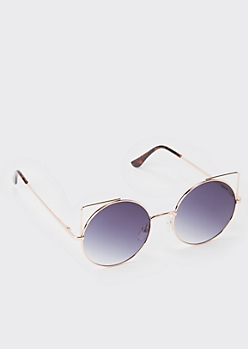 Smoky Round Cat Eye Sunglasses