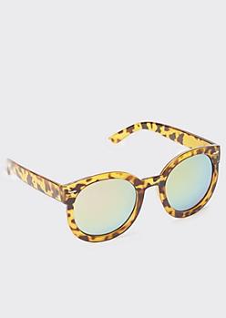 Tortoiseshell Thick Frame Round Sunglasses