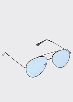 Blue Glitter Aviator Sunglasses