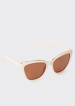 Pink Metal Trim Cat Eye Sunglasses