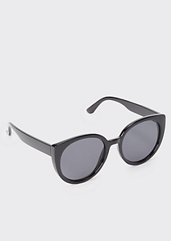 Black Thick Frame Round Sunglasses
