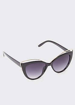 Black Gold Detail Cat Eye Sunglasses