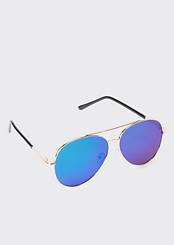 Blue Mirror Aviator Sunglasses