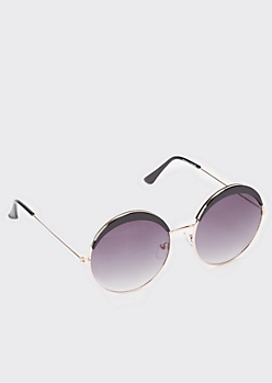 Round Brow Detail Smoky Sunglasses