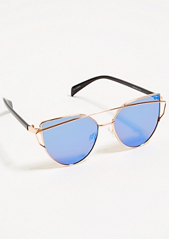 Blue Mirrored Lens Cat Eye Sunglasses