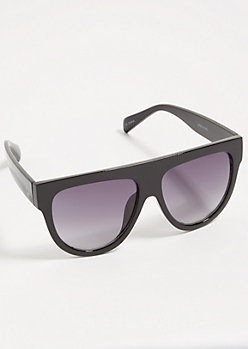 Black Oversized Smoky Flat Top Sunglasses
