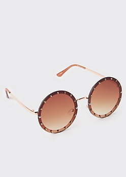 Blush Ombre Gem Round Sunglasses