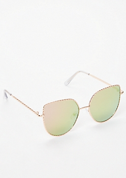 Rose Gold Rope Cat Eye Sunglasses