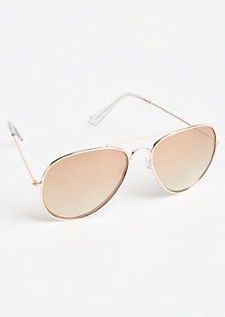 Rose Gold Ombre Lens Aviator Sunglasses