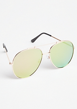 Pink Mirrored Lens Aviator Sunglasses