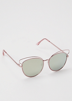 Rose Gold Double Wire Frame Cat Eye Sunglasses