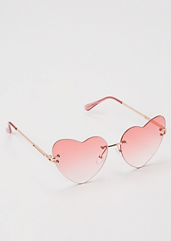 Rose Gold Heart Frame Sunglasses