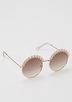 Rose Gold Floral Round Frame Sunglasses