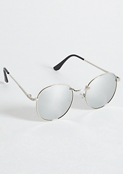 Silver Mirrored Lens Round Sunglasses