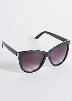 Black Glossy Oversized Cat Eye Sunglasses